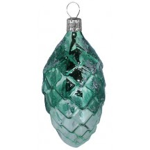 "Green Ombre Pine Cone Christmas Ornament ~ Czech Republic ~ 4"" long"