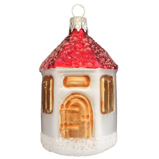 """Round Church Blown Glass Ornament ~ Czech Republic ~ 2-3/4"""" tall"""