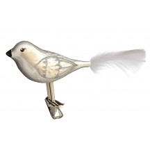 "Matte White Blown Glass Clipping Bird ~ Czech Republic ~ 5"" long"