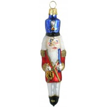 "Nutcracker with Blue Hat Blown Glass Ornament ~ Czech Republic ~ 5"" tall"