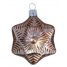 "Matte Cocoa Blown Glass Star Ornament ~ Czech Republic ~ 2-1/2"" tall"