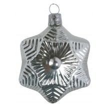 "Satin Silver Blown Glass Star Ornament ~ Czech Republic ~ 2-1/2"" tall"