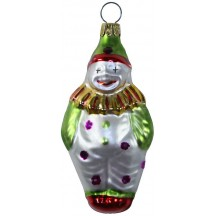 "Blown Glass Clown Ornament ~ Czech Repub. ~ 3-1/2"" long"