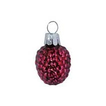 "Super Petite Magenta Berry Blown Glass Ornament ~ Czech Republic ~ 1-1/4"" long"
