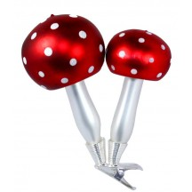 """Red Double Mushrooms Clipping Blown Glass Ornament ~ Czech Repub. ~ 4"""" tall"""