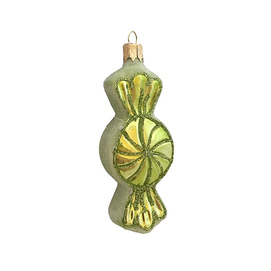 "Green Candy Twist Glass Ornament ~ Czech Republic ~ 3-1/2"" long"