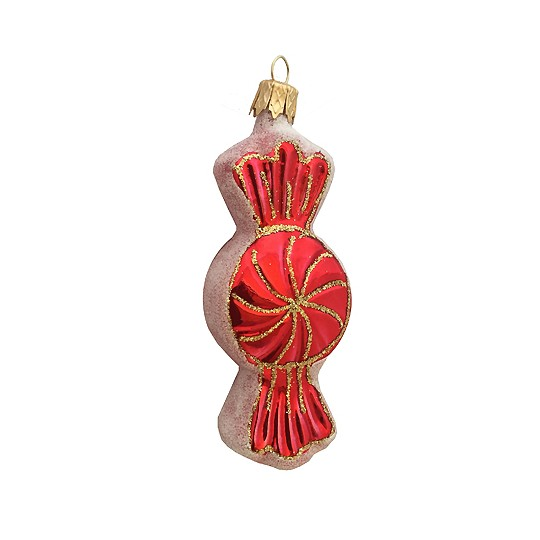 "Red Candy Twist Glass Ornament ~ Czech Republic ~ 3-1/2"" long"