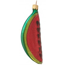 "Frosted Glass Watermelon Ornament ~ Czech Republic ~ 4"" long"