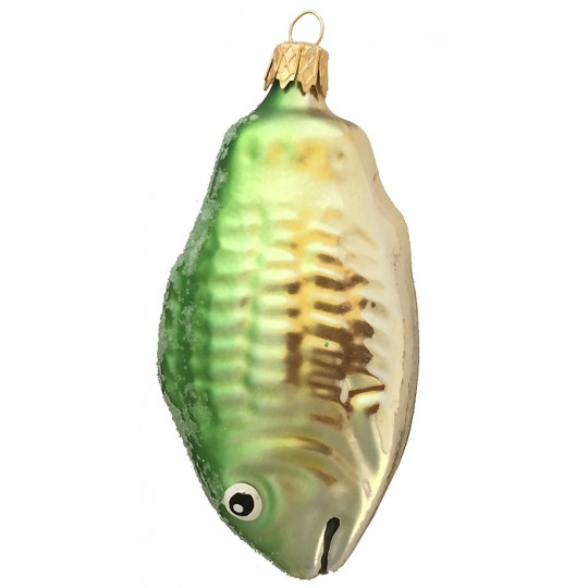 "Blown Glass Green Fish Ornament ~ Czech Republic ~ 3-1/2"" tall"