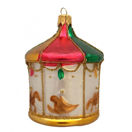 "Colorful Carousel Blown Glass Ornament ~ Czech Republic ~ 3"" tall"