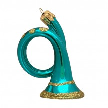 "Shiny Aqua Horn Blown Glass Ornament ~ Czech Republic ~ 3"" tall"