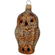 "Brown Owl Blown Glass Ornament ~ Czech Republic ~ 3"" tall"