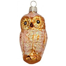 "Light Brown Owl Blown Glass Ornament ~ Czech Republic ~ 3"" tall"