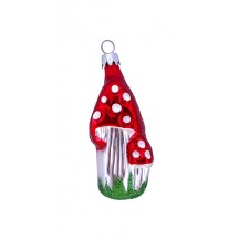 "Fairy Tale Double Mushroom Glass Ornament ~ Czech Repub. ~ 2-3/4"" tall"