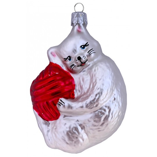 "White Cat with Yarn Ball Glass Ornament ~ Czech Republic ~ 3-1/2"" tall"