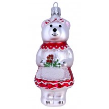 "Bear Girl with Flowers Blown Glass Ornament ~ Czech Republic ~ 4"" tall"