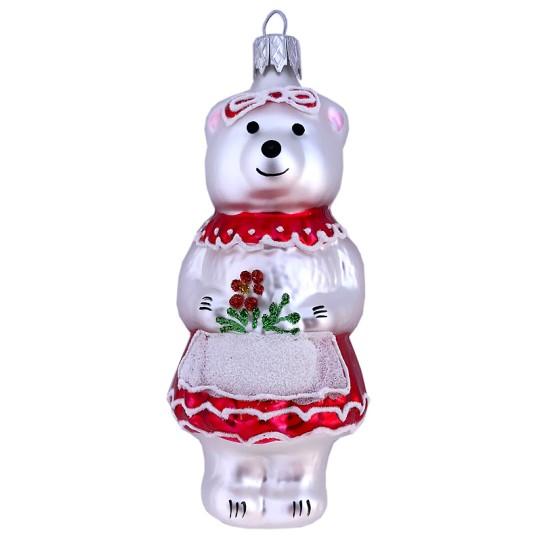 """Bear Girl with Flowers Blown Glass Ornament ~ Czech Republic ~ 4"""" tall"""