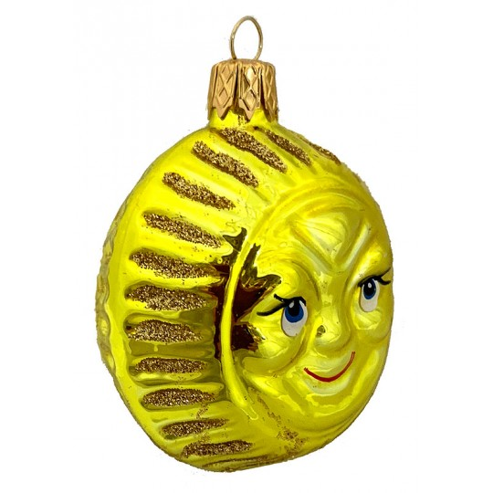 "Bright Yellow Sun Ornament ~ Czech Republic ~ 2-1/2"" tall"