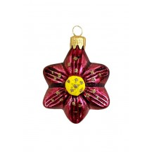 "Small Burgundy Flower Ornament ~ Czech Republic ~ 1-3/4"" tall"