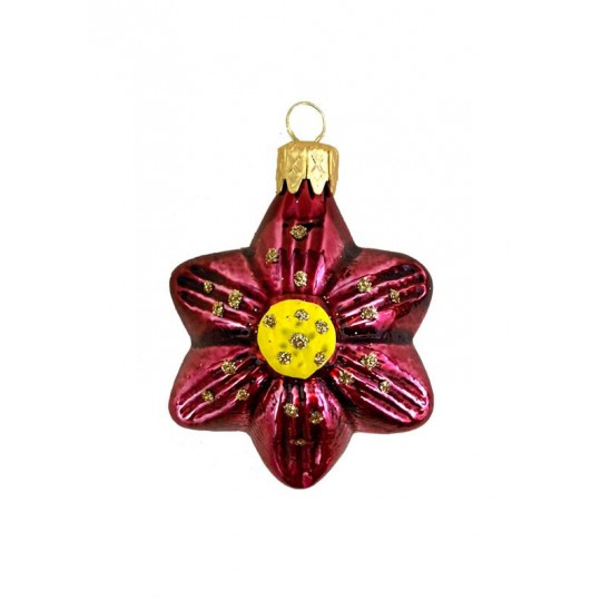 """Small Burgundy Flower Ornament ~ Czech Republic ~ 1-3/4"""" tall"""