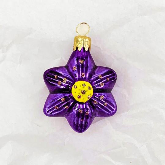 "Small Purple Flower Ornament ~ Czech Republic ~ 1-3/4"" tall"
