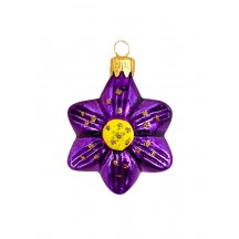 "Small Purple Flower Ornament ~ Czech Republic ~ 1-3/4"" tall"