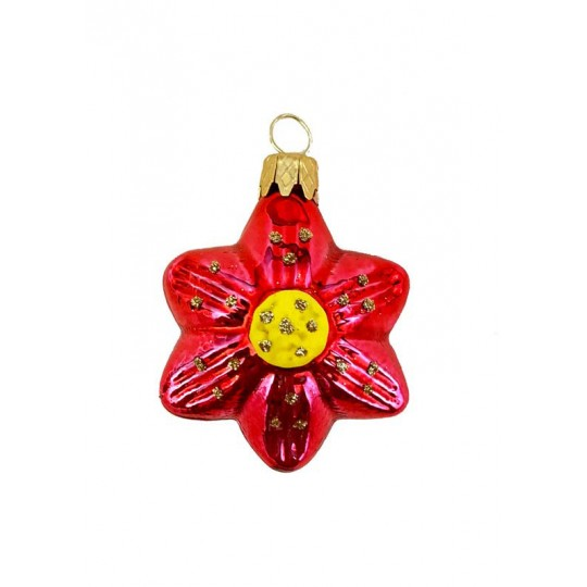 "Small Red Flower Ornament ~ Czech Republic ~ 1-3/4"" tall"