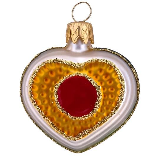 "Petite Multi-color Glass Heart Ornament ~ Czech Republic ~ 1-1/2"" tall"