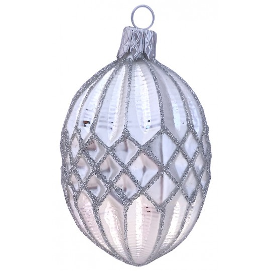 "Matte White Glittered Quilted Blown Glass Ornament ~ Czech Republic ~ 3"" tall"