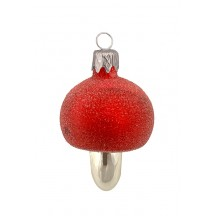 "Frosted Red Mushroom Glass Ornament ~ Czech Repub. ~ 2-3/8"" tall"