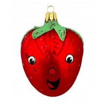 "Smiling Strawberry Blown Glass Ornament ~ Czech Republic ~ 2-1/2"" long"