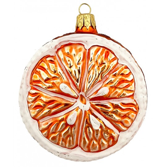"Large Orange Slice Glass Ornament ~ Czech Republic ~ 3"" across"