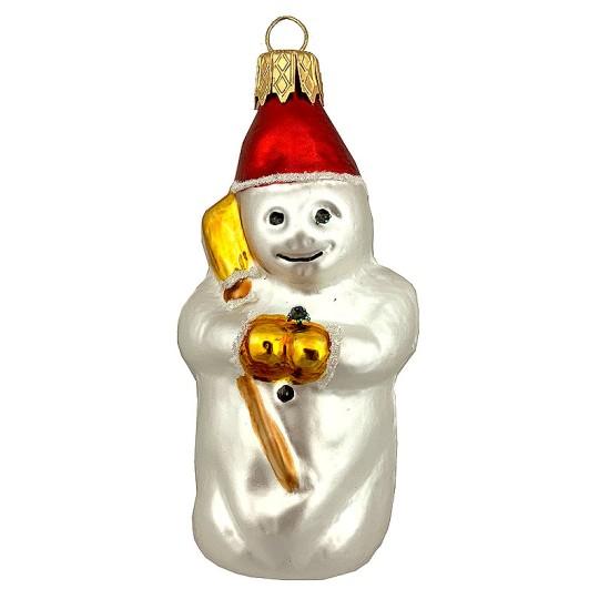 """Snowman Blown Glass Christmas Ornament ~ Czech Republic ~ 3"""" tall"""