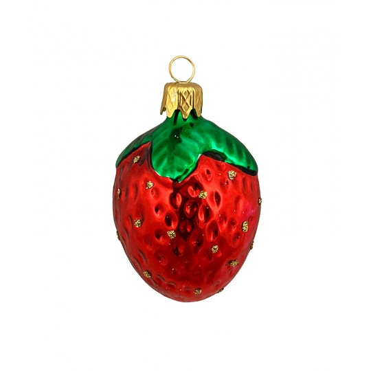 "Small Strawberry Blown Glass Ornament ~ Czech Republic ~ 2"" long"