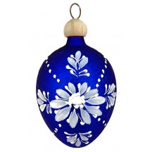 "Folkloric Blue Egg with Flowers Blown Glass Ornament ~ Czech Republic ~ 2-1/2"" tall"