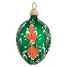 "Folkloric Green Egg with Flourishes Blown Glass Ornament ~ Czech Republic ~ 2-1/2"" tall"