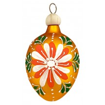 "Folkloric Goldenrod Egg with Flower Blown Glass Ornament ~ Czech Republic ~ 2-1/2"" tall"