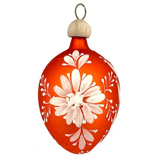 "Folkloric Orange Egg with Flower Blown Glass Ornament ~ Czech Republic ~ 2-1/2"" tall"