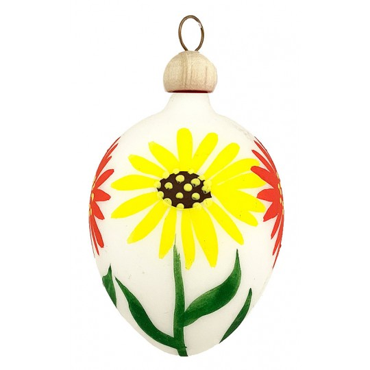 "Folkloric White Floral Blown Glass Egg Ornament ~ Czech Republic ~ 2-1/2"" tall"