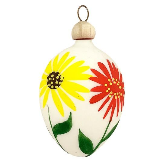 "Folkloric White Floral Blown Glass Egg Ornament ~ Czech Republic ~ 2-1/2"" tall"