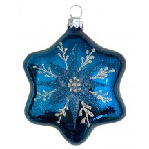 "Deep Teal Star Blown Glass Ornament ~ Czech Republic ~ 3-3/4"" tall"