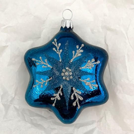 """Deep Teal Star Blown Glass Ornament ~ Czech Republic ~ 3-3/4"""" tall"""