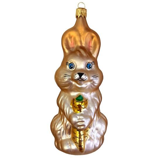 """XL Easter Bunny Blown Glass Ornament ~ Czech Republic ~ 5"""" tall"""