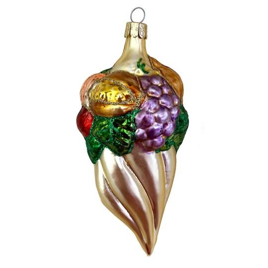 "XL Fruit Cornucopia Blown Glass Ornament ~ Czech Republic ~ 5-1/2"" tall"