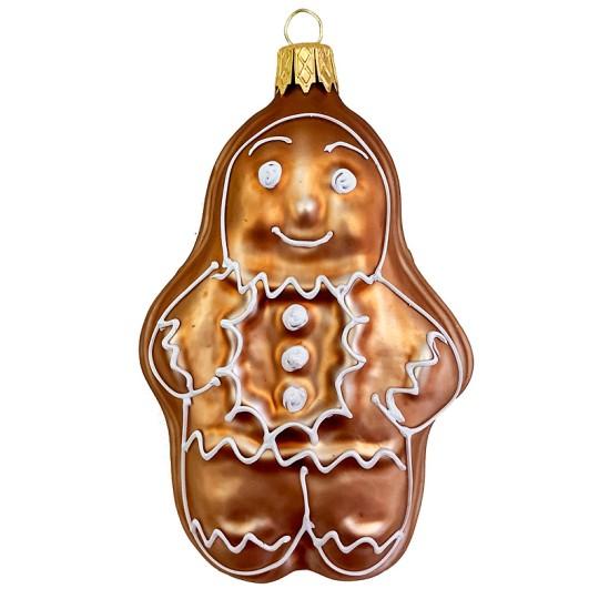 """Gingerbread Man Blown Glass Christmas Ornament ~ Czech Republic ~ 3-5/8"""" tall"""