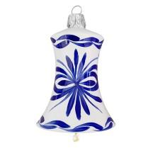 """Delft Blown Glass Bell Ornament ~ Czech Republic ~ 2-1/2"""" tall"""