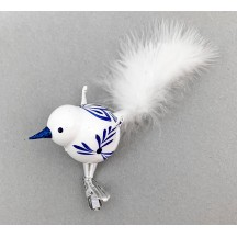 "Delft Blown Glass Clipping Bird Ornament ~ Czech Republic ~ 5-1/2"" long"
