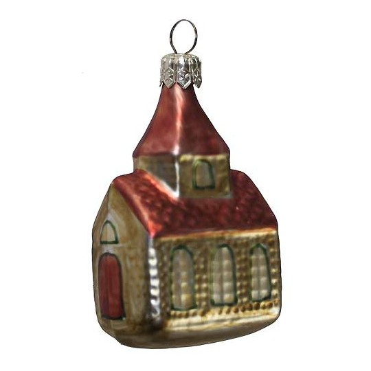 "Country Church Blown Glass Ornament ~ Czech Republic ~ 3"" tall"