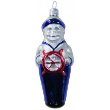 "Blown Glass Sailor Ornament ~ Czech Repub. ~ 4-1/2"" long"
