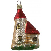 "Blown Glass Light House Ornament ~ Czech Republic ~ 3-1/2"" tall"